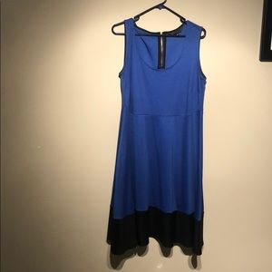 Electric Blue with Black colour block dress.